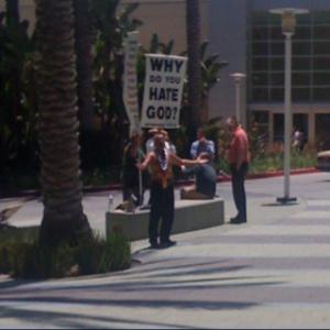 Protestors show up