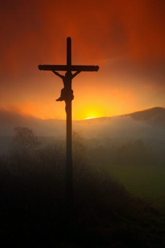 Storyblocks cross with beautiful sunset with fog czech landscape with cross with orange sun and clouds during morning hilly mystic landscape with cross end of night with cross B5GwBaf7Zz