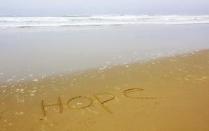 Hope writing on beach GyFKokKd