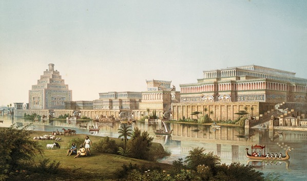 Artist s impression of Assyrian palaces from The Monuments of Nineveh by Sir Austen Henry Layard 1853