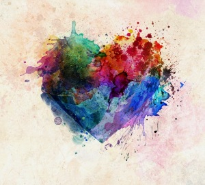 A heart shape made out of paint splatters H7qtiRbg0